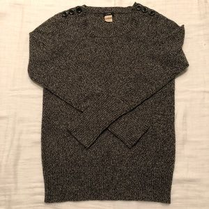 J. Crew Black and Grey Marled Wool Sweater